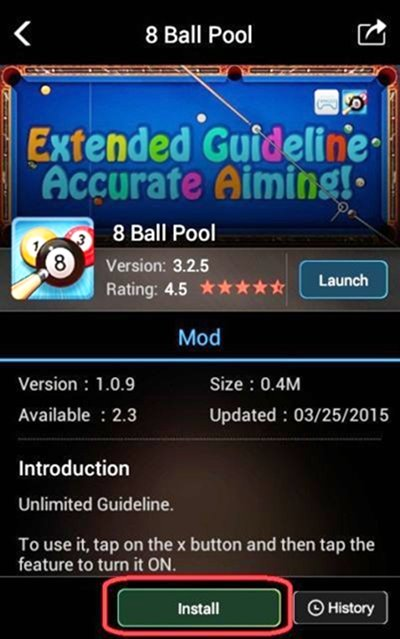 cheat 8 ball pool garis panjang