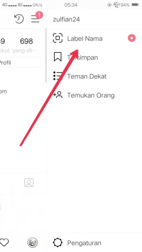 label nama atau name tag instagram